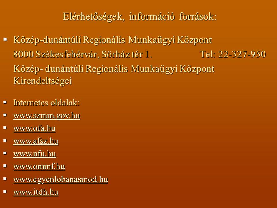  Közép-dunántúli Regionális Munkaügyi Központ 8000 Székesfehérvár, Sörház tér 1.
