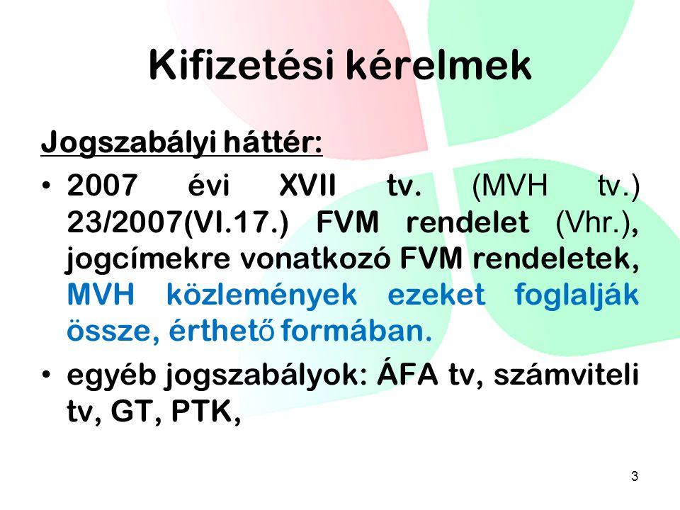 Kifizetési kérelmek Jogszabályi háttér: 2007 évi XVII tv. (MVH tv.) 23/2007(VI.17.) FVM rendelet (Vhr.), jogcímekre vonatkozó FVM rendeletek, MVH közl