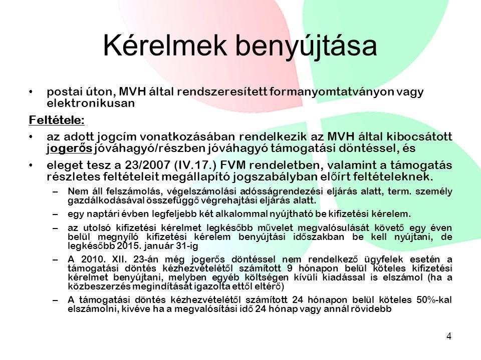 Kérelmek benyújtása postai úton, MVH által rendszeresített formanyomtatványon vagy elektronikusan Feltétele: az adott jogcím vonatkozásában rendelkezi