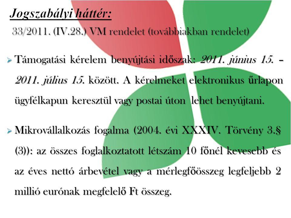 Jogszabályi háttér:  Támogatási kérelem benyújtási id ő szak: 2011.