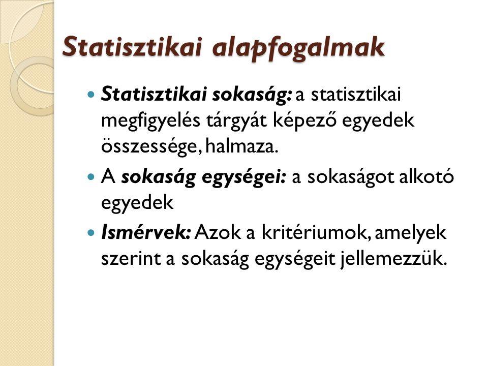 Statisztikai alapfogalmak Statisztikai sokaság: a statisztikai megfigyelés tárgyát képező egyedek összessége, halmaza.