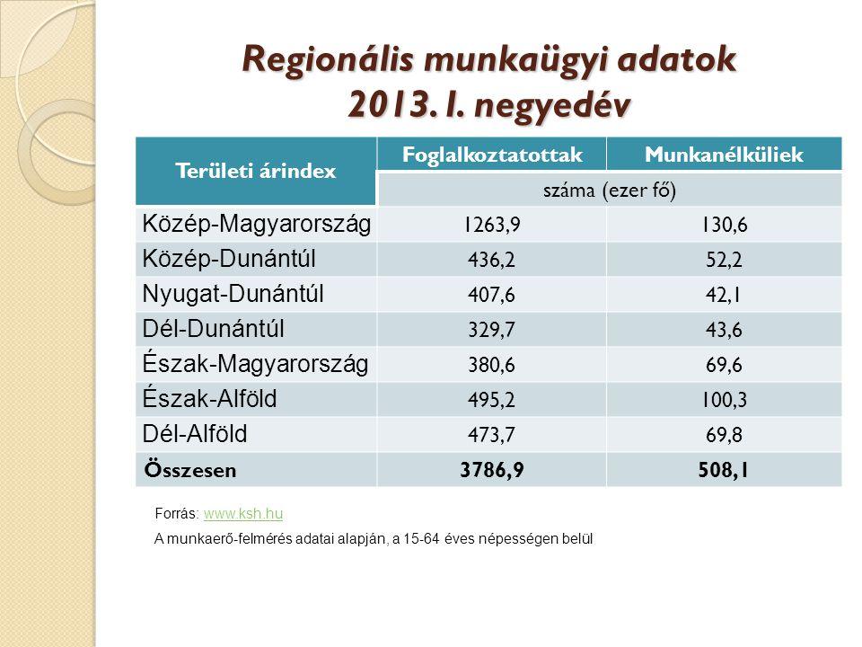 Regionális munkaügyi adatok 2013.I.