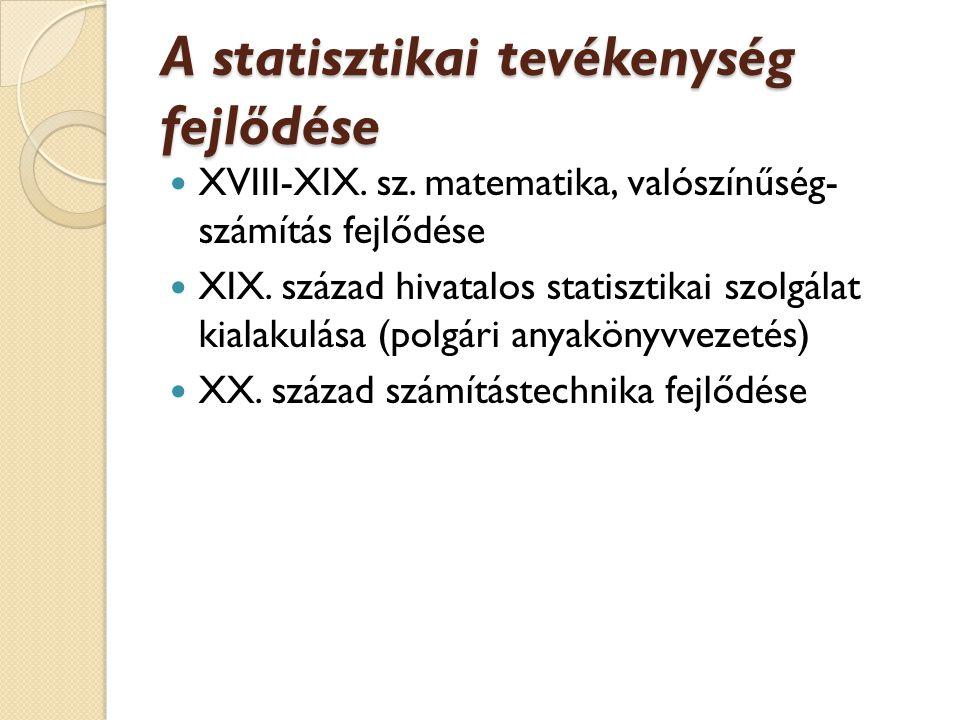 A statisztikai tevékenység fejlődése XVIII-XIX.sz.
