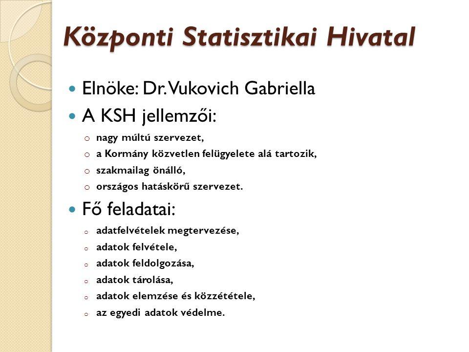 Központi Statisztikai Hivatal Elnöke: Dr.