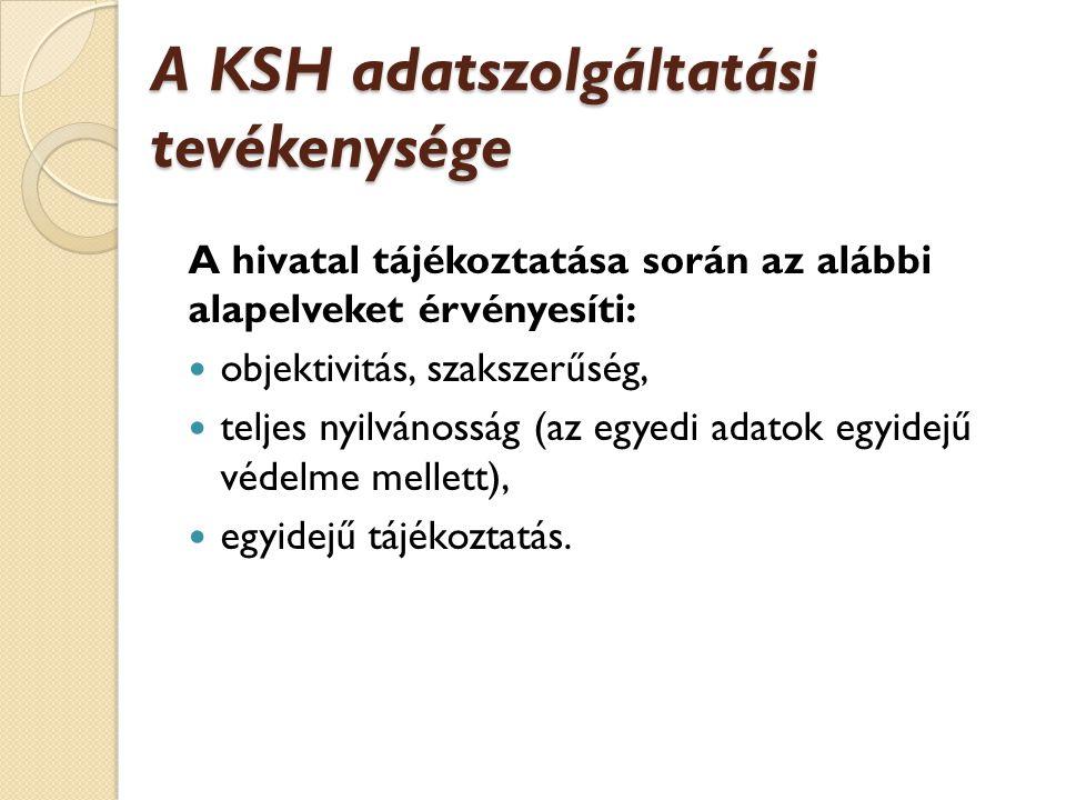 A KSH adatszolgáltatási tevékenysége A hivatal tájékoztatása során az alábbi alapelveket érvényesíti: objektivitás, szakszerűség, teljes nyilvánosság (az egyedi adatok egyidejű védelme mellett), egyidejű tájékoztatás.