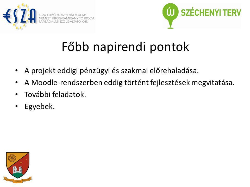 Főbb napirendi pontok A projekt eddigi pénzügyi és szakmai előrehaladása.