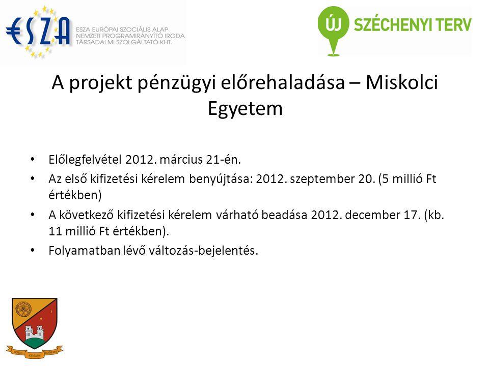 A projekt pénzügyi előrehaladása – Miskolci Egyetem Előlegfelvétel 2012.