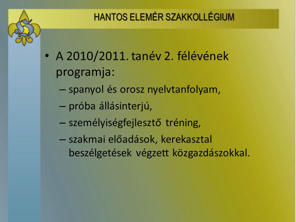 A 2010/2011. tanév 2.