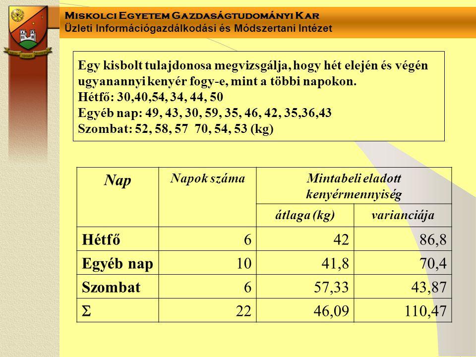 Miskolci Egyetem Gazdaságtudományi Kar Üzleti Információgazdálkodási és Módszertani Intézet Egy kisbolt tulajdonosa megvizsgálja, hogy hét elején és végén ugyanannyi kenyér fogy-e, mint a többi napokon.