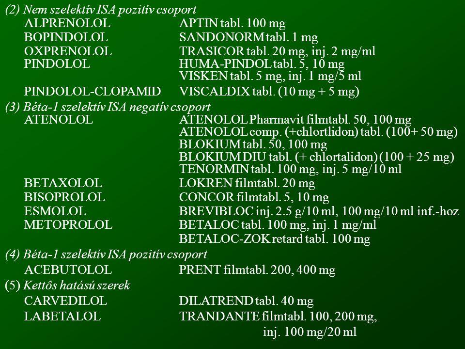 (2) Nem szelektív ISA pozitív csoport ALPRENOLOLAPTIN tabl.