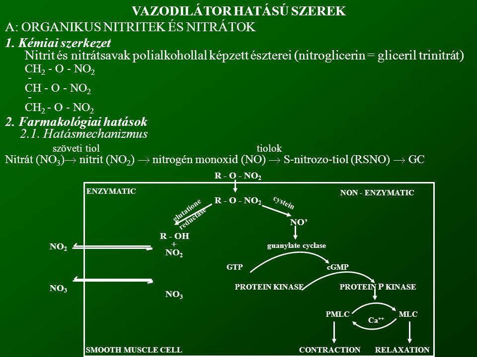 R - O - NO 2 R - OH + NO 2 NO 3 NO' guanylate cyclase GTPcGMP PROTEIN KINASE PROTEIN P KINASE PMLC MLC CONTRACTION RELAXATION Ca ++ NON - ENZYMATIC NO 2 NO 3 SMOOTH MUSCLE CELL cystein glutatione reductase ENZYMATIC VAZODILÁTOR HATÁSÚ SZEREK A: ORGANIKUS NITRITEK ÉS NITRÁTOK 1.