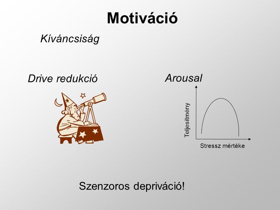 Motiváció Kíváncsiság Drive redukció Arousal Szenzoros depriváció! Stressz mértékeTeljesítmény