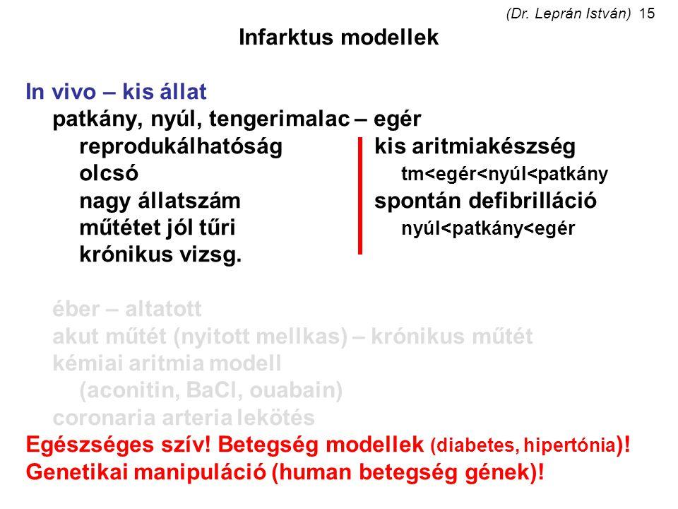 (Dr. Leprán István)15 Infarktus modellek In vivo – kis állat patkány, nyúl, tengerimalac – egér reprodukálhatóságkis aritmiakészség olcsó tm<egér<nyúl