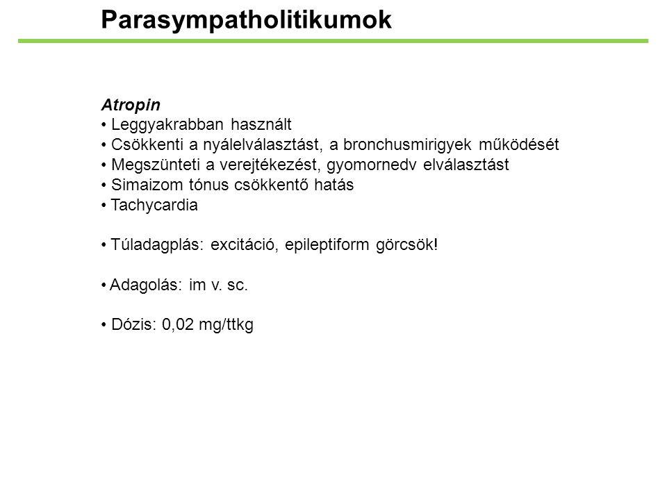 Parasympatholitikumok Atropin Leggyakrabban használt Csökkenti a nyálelválasztást, a bronchusmirigyek működését Megszünteti a verejtékezést, gyomorned