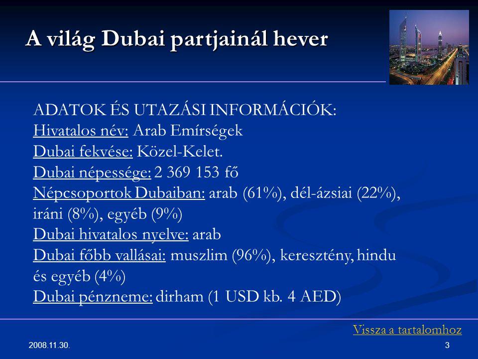 2008.11.30. 3 ADATOK ÉS UTAZÁSI INFORMÁCIÓK: Hivatalos név: Arab Emírségek Dubai fekvése: Közel-Kelet. Dubai népessége: 2 369 153 fő Népcsoportok Duba