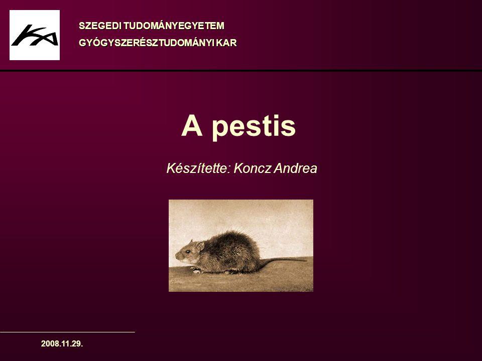 2008.11.29. A pestis Készítette: Koncz Andrea SZEGEDI TUDOMÁNYEGYETEM GYÓGYSZERÉSZTUDOMÁNYI KAR