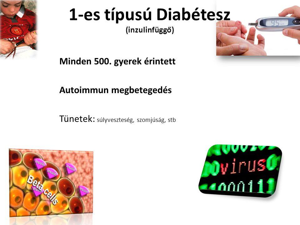 1-es típusú Diabétesz (inzulinfüggő) Minden 500. gyerek érintett Autoimmun megbetegedés Tünetek: súlyveszteség, szomjúság, stb