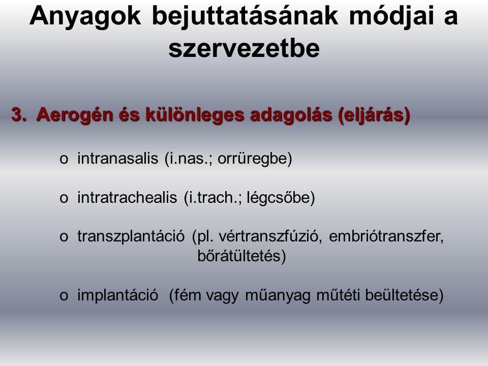 3. Aerogén és különleges adagolás (eljárás) o intranasalis (i.nas.; orrüregbe) o intratrachealis (i.trach.; légcsőbe) o transzplantáció (pl. vértransz