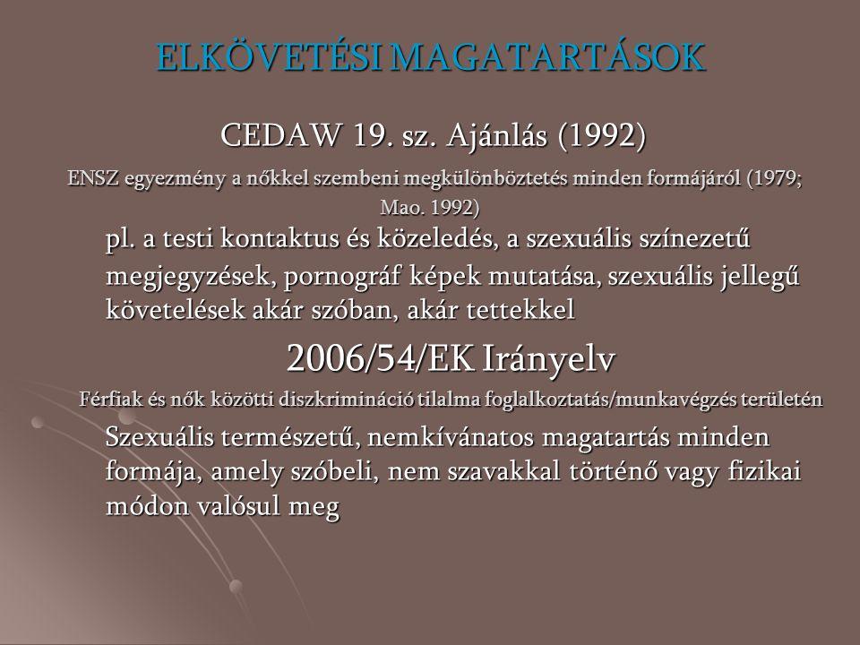 ELKÖVETÉSI MAGATARTÁSOK CEDAW 19. sz. Ajánlás (1992) ENSZ egyezmény a nőkkel szembeni megkülönböztetés minden formájáról (1979; Mao. 1992) pl. a testi