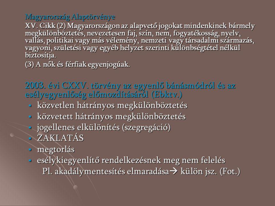 Magyarország Alaptörvénye XV. Cikk (2) Magyarországon az alapvető jogokat mindenkinek bármely megkülönböztetés, nevezetesen faj, szín, nem, fogyatékos