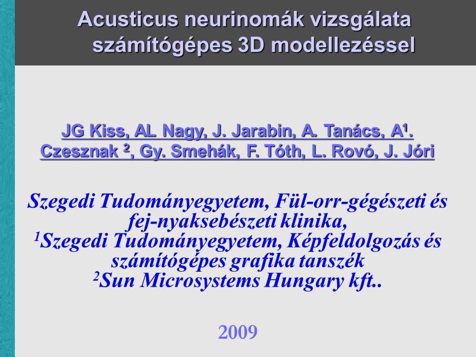 Acusticus neurinomák vizsgálata számítógépes 3D modellezéssel Szegedi Tudományegyetem, Fül-orr-gégészeti és fej-nyaksebészeti klinika, 1 Szegedi Tudományegyetem, Képfeldolgozás és számítógépes grafika tanszék 2 Sun Microsystems Hungary kft..