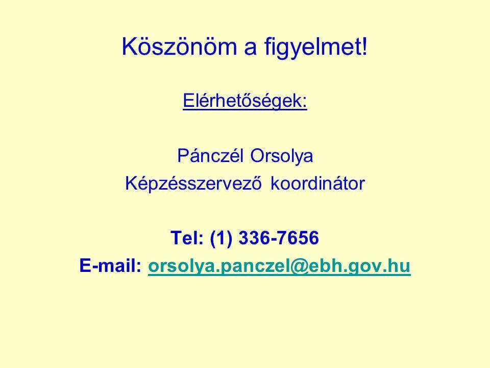 Köszönöm a figyelmet! Elérhetőségek: Pánczél Orsolya Képzésszervező koordinátor Tel: (1) 336-7656 E-mail: orsolya.panczel@ebh.gov.huorsolya.panczel@eb