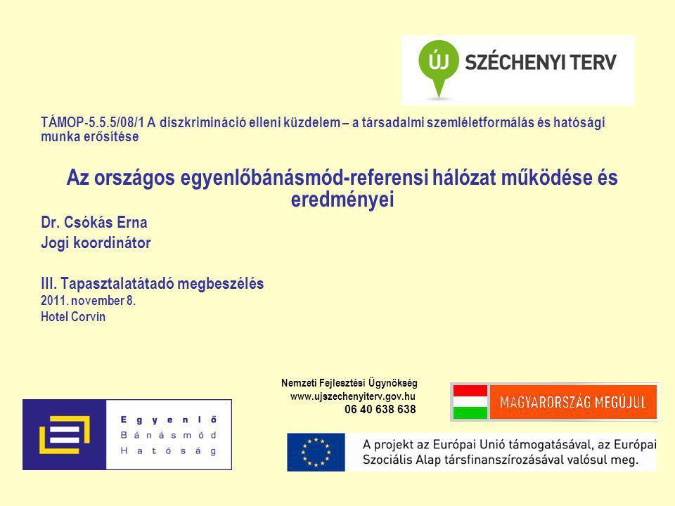TÁMOP-5.5.5/08/1 A diszkrimináció elleni küzdelem – a társadalmi szemléletformálás és hatósági munka erősítése Az országos egyenlőbánásmód-referensi hálózat működése és eredményei Dr.