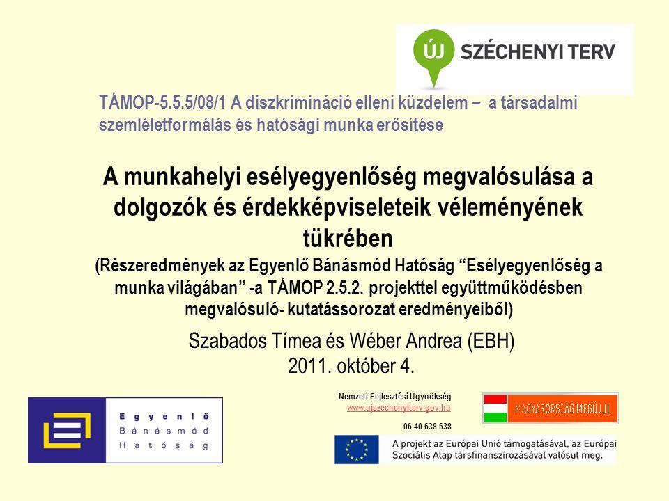 Szabados Tímea és Wéber Andrea (EBH) 2011. október 4. A munkahelyi esélyegyenlőség megvalósulása a dolgozók és érdekképviseleteik véleményének tükrébe
