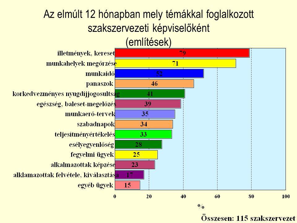 Az elmúlt 12 hónapban mely témákkal foglalkozott szakszervezeti képviselőként (említések)
