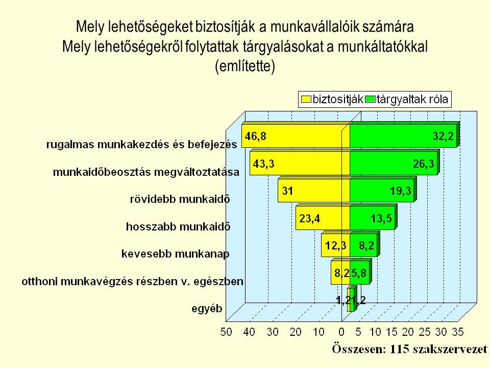 Mely lehetőségeket biztosítják a munkavállalóik számára Mely lehetőségekről folytattak tárgyalásokat a munkáltatókkal (említette)
