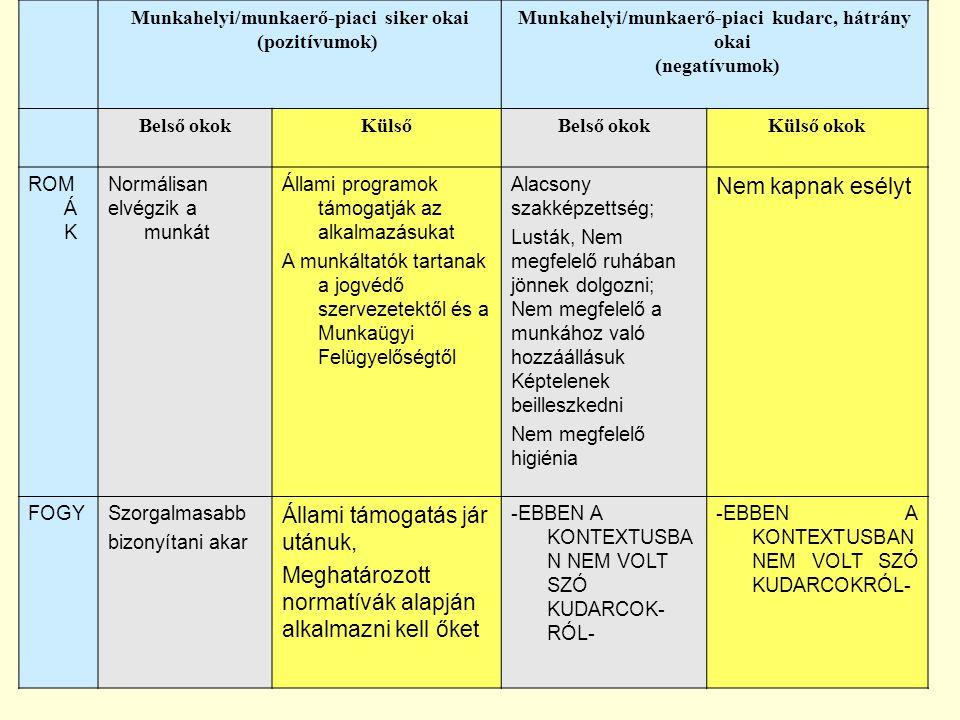 Munkahelyi/munkaerő-piaci siker okai (pozitívumok) Munkahelyi/munkaerő-piaci kudarc, hátrány okai (negatívumok) Belső okokKülsőBelső okokKülső okok RO