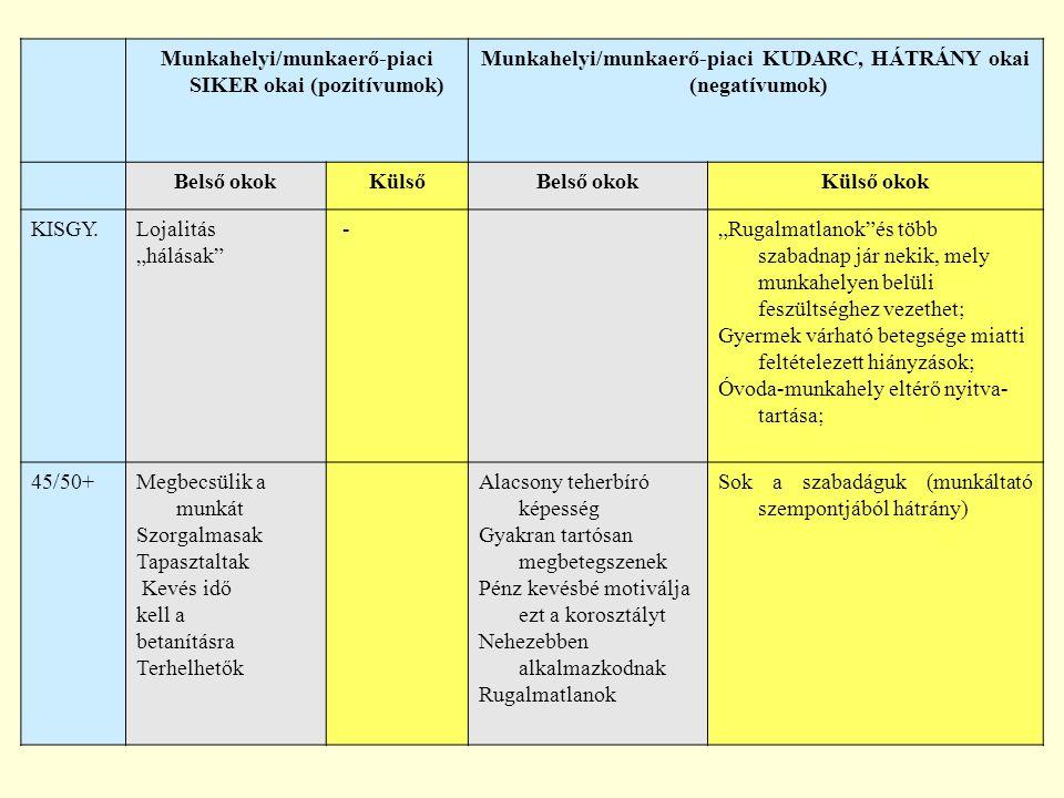Munkahelyi/munkaerő-piaci SIKER okai (pozitívumok) Munkahelyi/munkaerő-piaci KUDARC, HÁTRÁNY okai (negatívumok) Belső okokKülsőBelső okokKülső okok KI