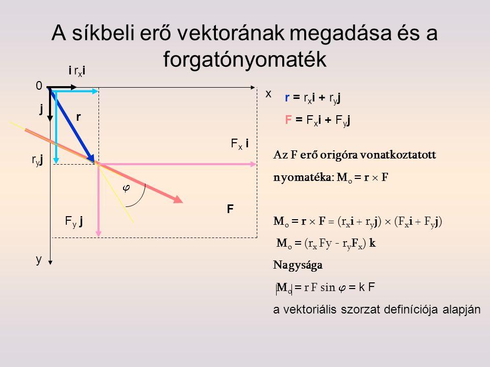 A síkbeli erő vektorának megadása és a forgatónyomaték x y Fy jFy j Fx iFx i F r r = r x i + r y j F = F x i + F y j i j Az F erő origóra vonatkoztato