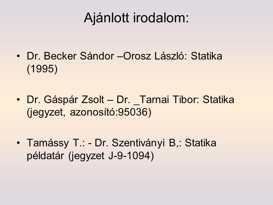 Ajánlott irodalom: Dr. Becker Sándor –Orosz László: Statika (1995) Dr. Gáspár Zsolt – Dr. _Tarnai Tibor: Statika (jegyzet, azonosító:95036) Tamássy T.