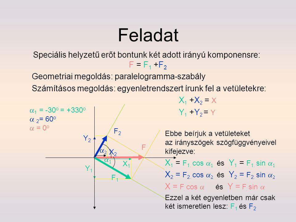 Speciális helyzetű erőt bontunk két adott irányú komponensre: F = F 1 +F 2 Geometriai megoldás: paralelogramma-szabály Számításos megoldás: egyenletre