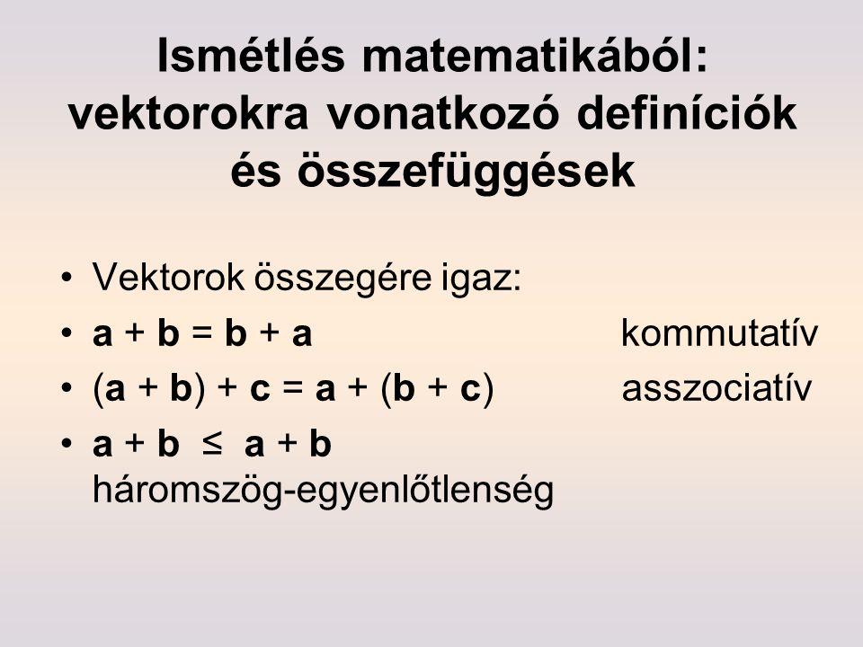 Ismétlés matematikából: vektorokra vonatkozó definíciók és összefüggések Vektorok összegére igaz: a + b = b + a kommutatív (a + b) + c = a + (b + c) a