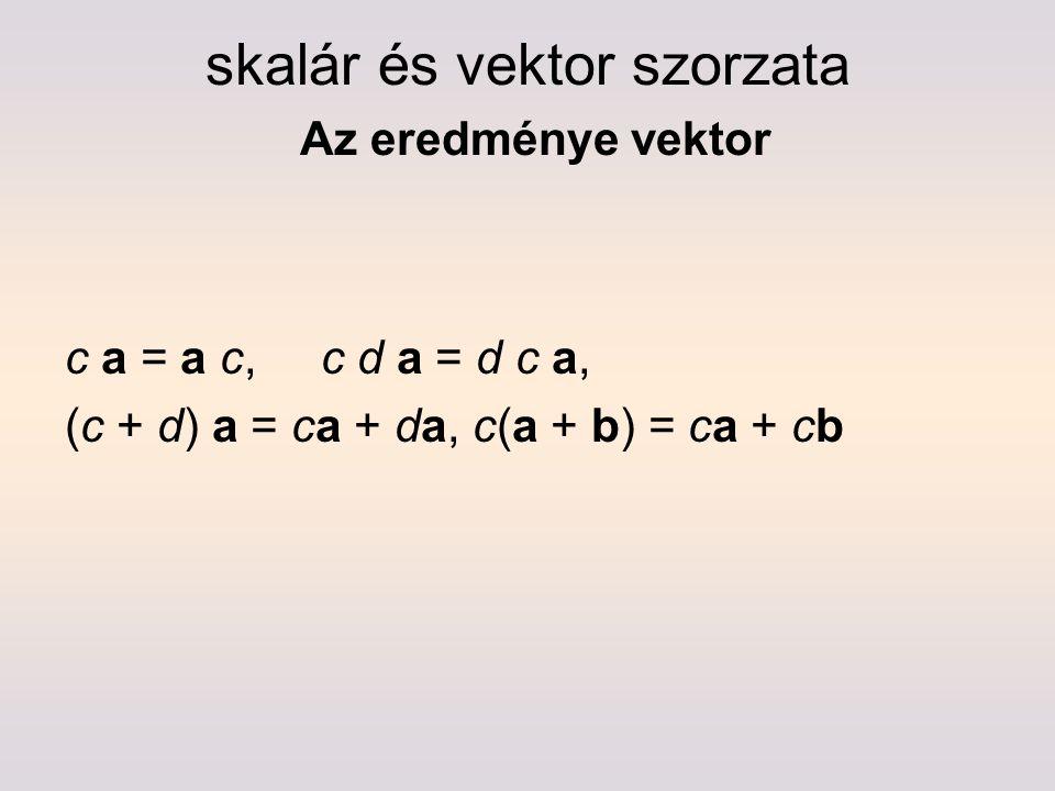 skalár és vektor szorzata Az eredménye vektor c a = a c, c d a = d c a, (c + d) a = ca + da, c(a + b) = ca + cb