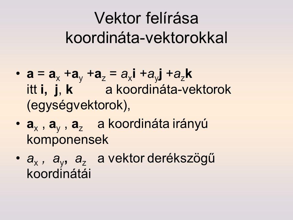 Vektor felírása koordináta-vektorokkal a = a x +a y +a z = a x i +a y j +a z k itt i, j, k a koordináta-vektorok (egységvektorok), a x, a y, a z a koo
