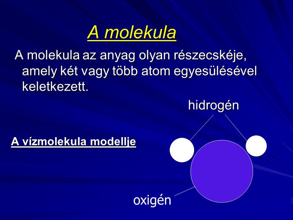 A molekula A molekula az anyag olyan részecskéje, amely két vagy több atom egyesülésével keletkezett. A molekula az anyag olyan részecskéje, amely két