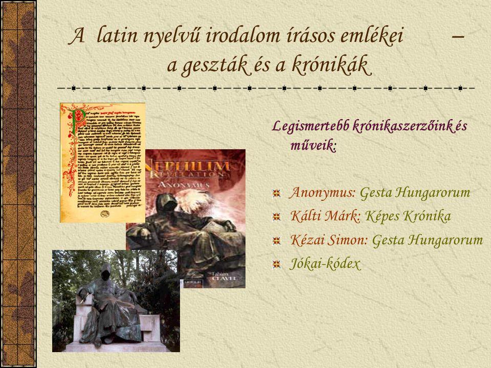 A vallásos irodalom emlékei Halotti beszéd és könyörgés /kb. 1195/ Ómagyar Mária-siralom /kb. 1300/ Legendák /Szt. Istvánról, Zoeradról és Benedekről,