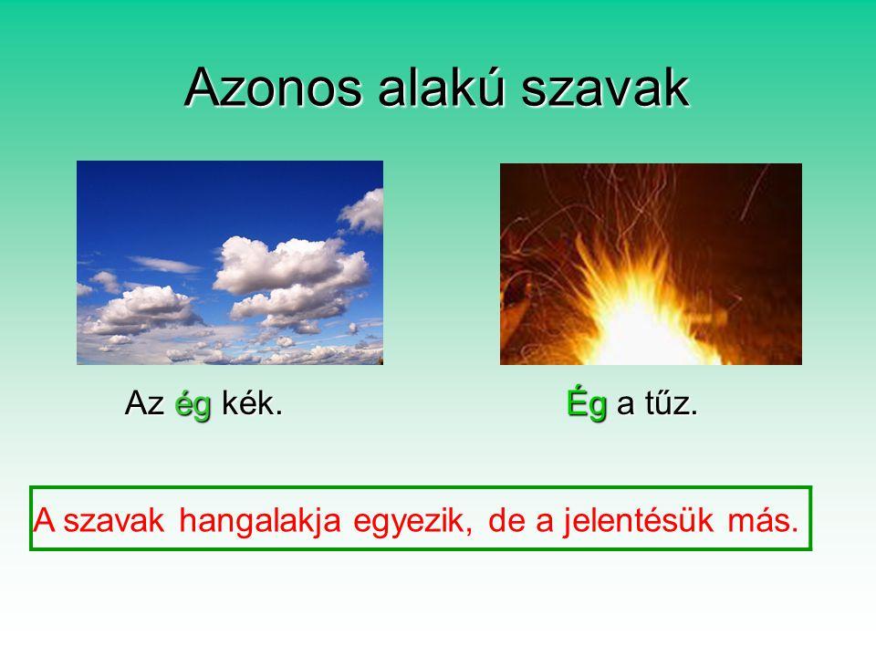 Azonos alakú szavak Az ég kék.Ég a tűz.Az ég kék.Ég a tűz.