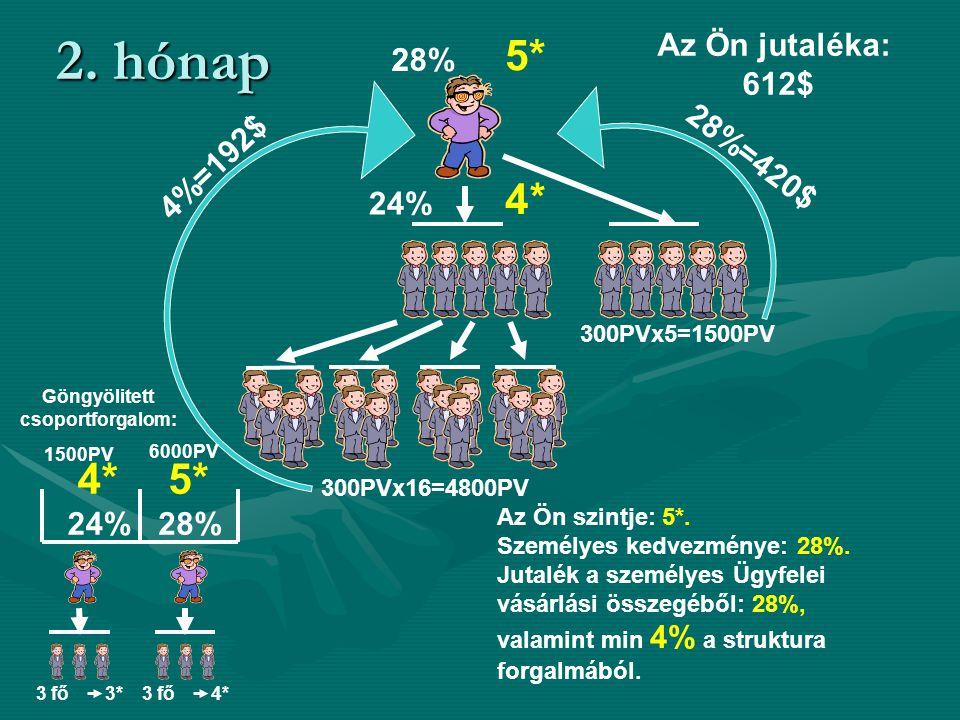 2. hónap 4*4* 24% 28%28% 5*5* 300PVх5=1500PV 4%=192$ 300PVх16=4800PV 28%=420$ 3 fő 3* Göngyölitett csoportforgalom: 4* 24% 1500PV 6000PV 5* 28% 3 fő 4
