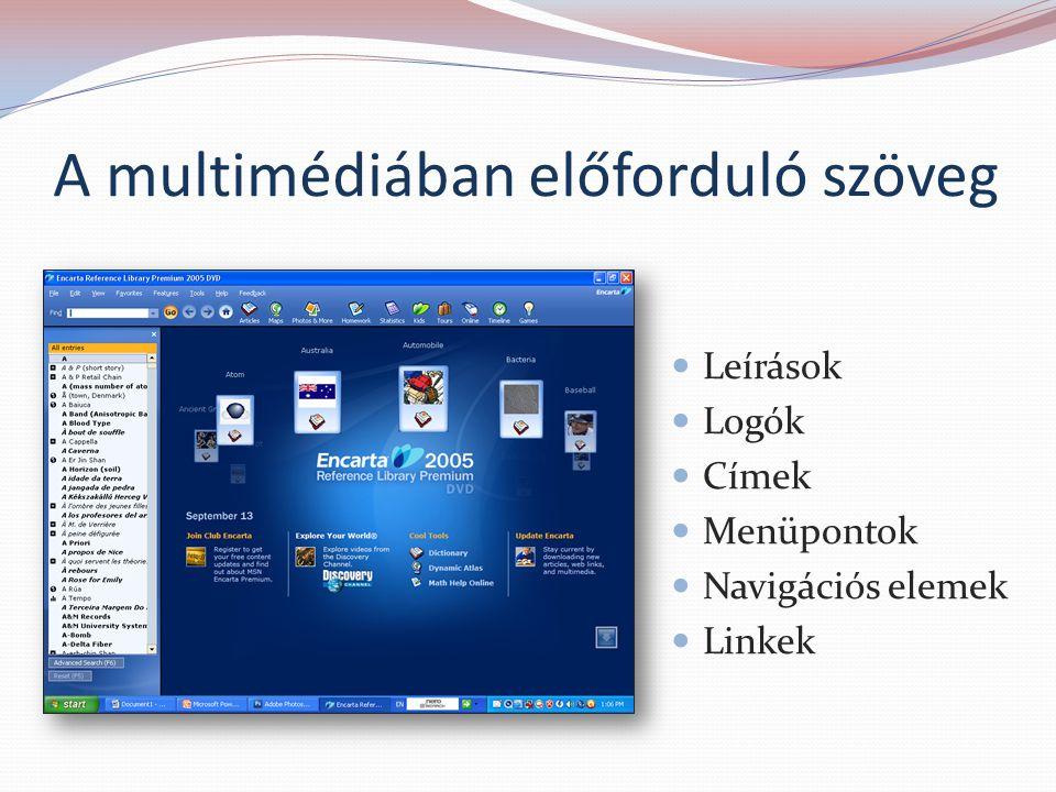 A multimédiában előforduló szöveg Leírások Logók Címek Menüpontok Navigációs elemek Linkek