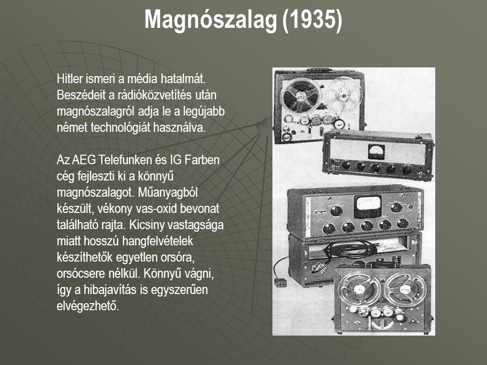 Magnószalag (1935) Hitler ismeri a média hatalmát. Beszédeit a rádióközvetítés után magnószalagról adja le a legújabb német technológiát használva. Az