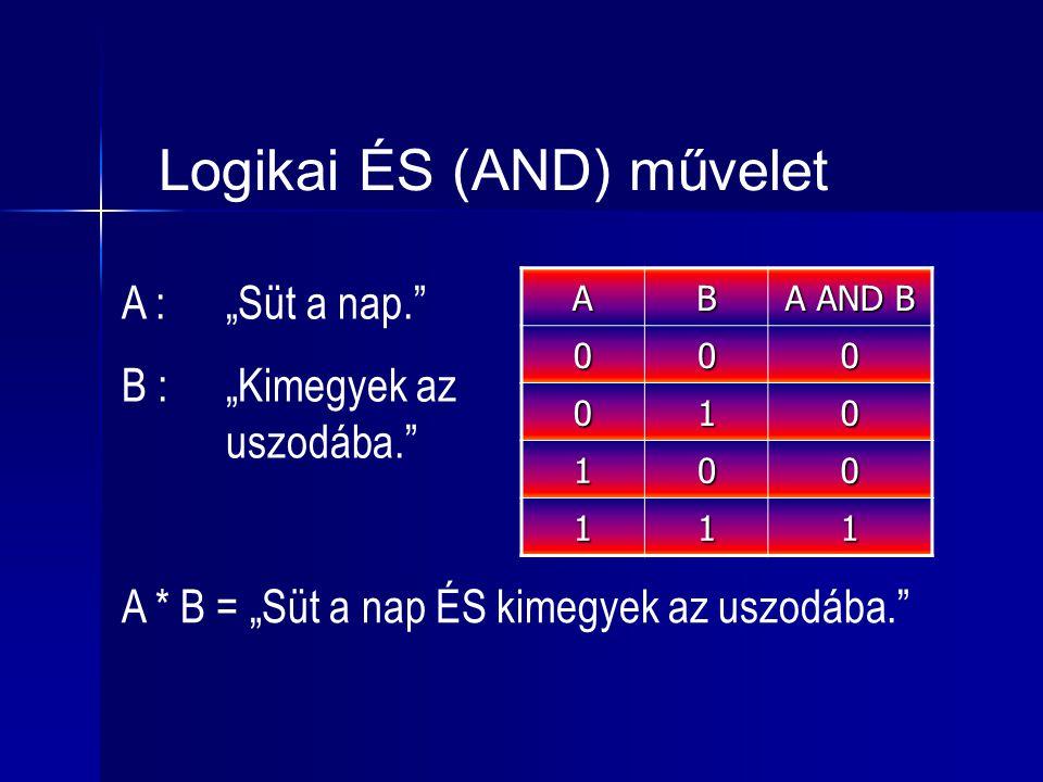 """Logikai ÉS (AND) művelet AB A AND B 000 010 100 111 A :""""Süt a nap."""" B :""""Kimegyek az uszodába."""" A * B = """"Süt a nap ÉS kimegyek az uszodába."""""""