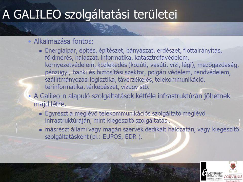 A GALILEO szolgáltatási területei  1.) Nyilvános szolgáltatás (Open Service) Tömegigények kiszolgálása - Négy méteres pontossággal  2.) Életvédelmi szolgáltatás (Safety of life Service) A szolgáltatást a tömegközlekedési szektor (légi-, folyami-, tengeri- és vasúti közlekedés) képviselői számára alakítják ki.