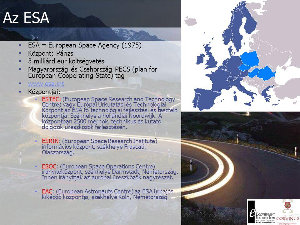 Az ESA  ESA = European Space Agency (1975)  Központ: Párizs  3 milliárd eur költségvetés  Magyarország és Csehország PECS (plan for European Cooperating State) tag  www.esa.int www.esa.int  Központjai:  ESTEC: (European Space Research and Technology Centre) vagy Európai Űrkutatási és Technológiai Központ az ESA fő technológiai fejlesztési és tesztelő központja.