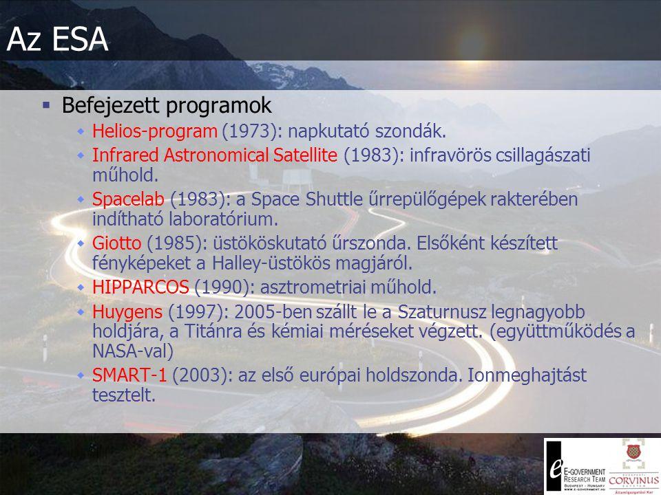 Az ESA  Befejezett programok  Helios-program (1973): napkutató szondák.