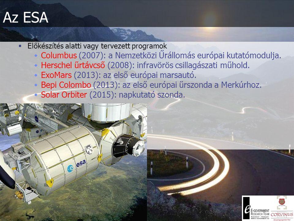  Előkészítés alatti vagy tervezett programok  Columbus (2007): a Nemzetközi Űrállomás európai kutatómodulja.