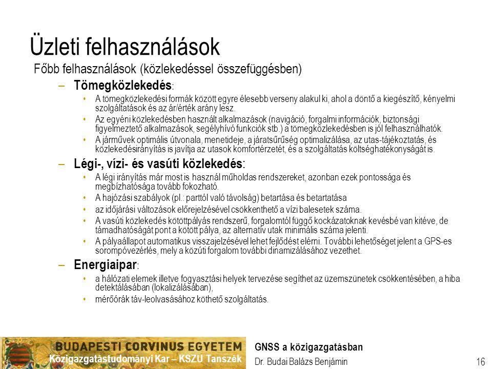 Közigazgatástudományi Kar – KSZU Tanszék Dr. Budai Balázs Benjámin GNSS a közigazgatásban 16 Üzleti felhasználások Főbb felhasználások (közlekedéssel